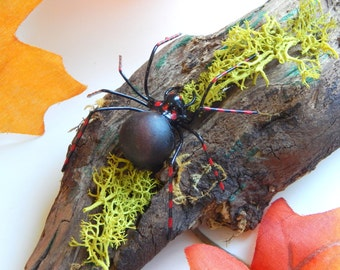 Small Driftwood With Small Black Spider Unique Gift for Nature Lover Desktop Ornament Halloween Decor OOAK