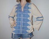 Vintage 60s 70s Bell Sleeve Tunic Top / 1960s 1970s Mykonos Blue Greek Embroidered Tunic / Embroidery Boho Ethnic Hippie Greek Blouse Top OS
