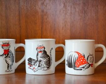 vintage nevco cat mugs