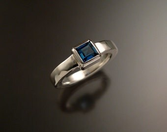 London Blue Topaz Ring Sterling silver Made to Order square stone square band Ring made to order in your size
