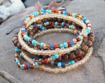 Beaded Stretch Bracelets, Wood and Czech glass beaded Bracelets, Festival Bracelet Set, 7-stacking  bracelets, Bohemian Hippie