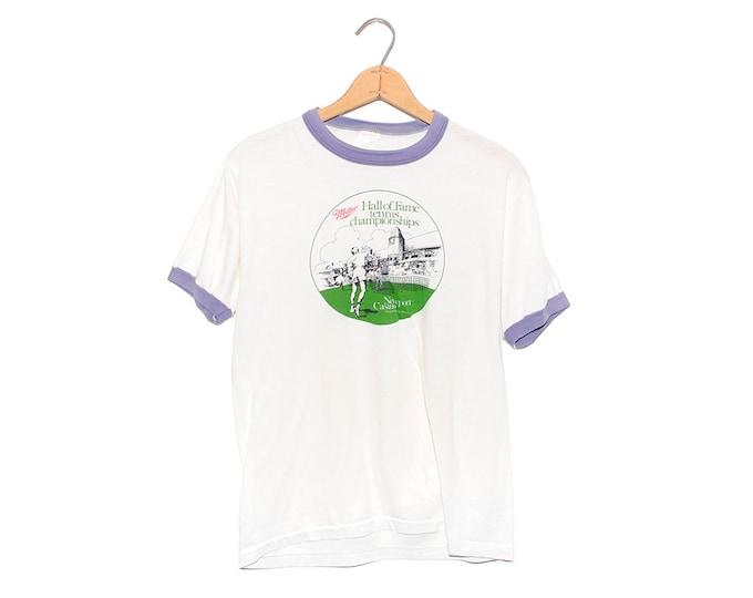 Vintage 70's Miller Beer Hall of Fame Tennis Championship Newport Casino Ringer T-shirt - Large