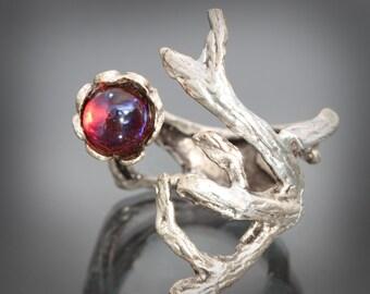 Mexican Opal Ring Dragons Breath Opal Ring Branch Ring Dragon Breath Ring Fire Opal