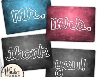Plastic Photo Booth Phrases - Mr. & Mrs - Thank you! - WEDDING