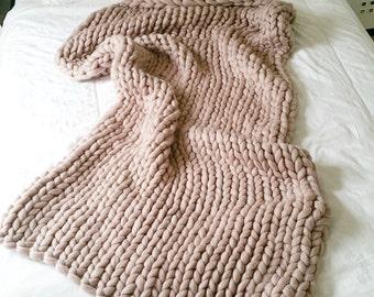 Dusky Pink Merino Wool Blanket