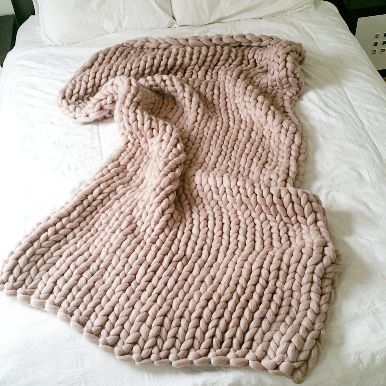 Chunky Knitting Wool Uk : Chunky knit blanket throw merino wool home decor