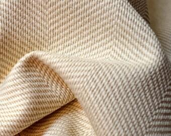 Cream & White Herringbone Upholstery Fabric