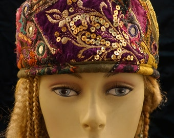 Gypsy World Peace Hat Red Violet Purple Sequined Indian Embroidery Mirror Work French Tapestry Hatsbybuck