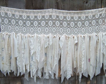 Tatter, Gypsy Lace Curtain, Off White, Room Divider, Valence with Added Rag Fringe 60 x 40 Inches Wedding