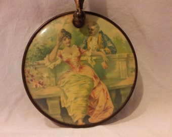 Vitage Antique round folding hand held mirror picture people couple in the garden Love