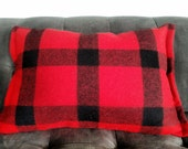 CABIN COLLECTION Red Buffalo Check  Wool Cabin Pillow Cover