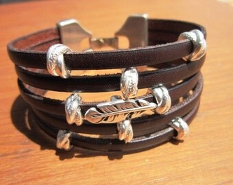 bohemian bracelet, silver feather, leather bracelet, bohemian jewelry, boho bracelets, stacking bracelets