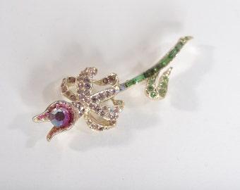 Vintage Pell Brooch 1950s - Aurora Borealis Rhinestones - Pink Green Flower