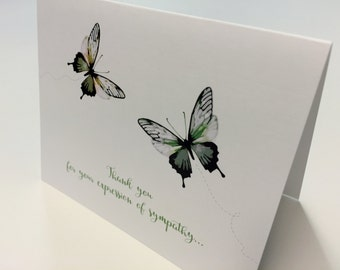 Watercolor, Expression, Deepest Sympathy, Green Butterflies, Thank You, Stationery, Note Card Set, Printable Digital, PDF Customized File