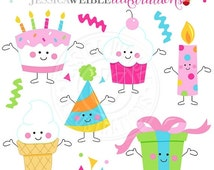 SALE Birthday Characters Cute Digital Clipart, Birthday Clip Art, Cute Birthday Cake Graphics, Cupcake Clipart, Ice Cream Clip art, Party Cl
