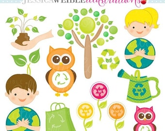 SALE Think Green Cute Digital Clipart - Commercial Use OK - Earth Day Graphics, Save the Planet Clipart, Environment Clipart