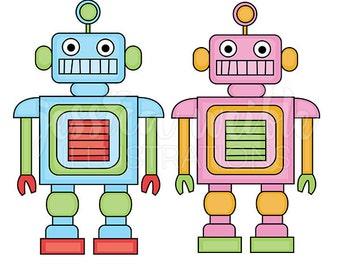 Cool Robots Cute Digital Clipart - Commercial Use OK - Cute robot Graphics, robot Clip art, Pink Robot, blue robot, Robot Illustration, #049