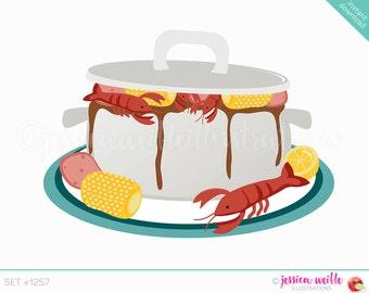 Instant Download Cajun Pot Cute Digital Clipart, Crawdad Boil Clip art, Seafood Gumbo Graphics, Shrimp Boil, Cajun Boil Illustration, #1257