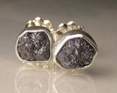 Black Rough Diamond Earrings - 1.75CTS- Raw Diamond Earrings, Uncut Diamond Studs
