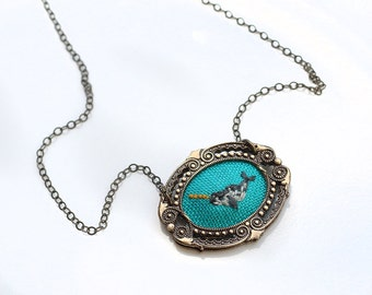 Mr. Narwhal- hand embroidered necklace, under the sea, ocean life, octopus