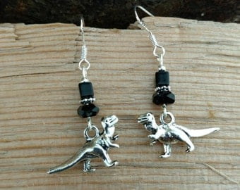 Black Dinosaur Earrings, Black Dinosaur Sterling Silver Dangle Earrings, Silver Dinosaur Black Dangle Sterling Silver Earrings