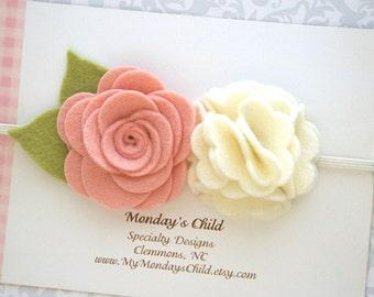 Felt Flower Crown, Baby Flower Crown, Felt Flower Headband, Blush Baby Headband, Baby Headband, Newborn Headband, Toddler Headband