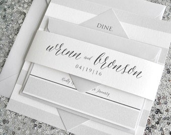 Diamond Wedding Invitation Suite with Belly Band - Silver Grey Gray, Charcoal and Off-white (text + colors are customizable)
