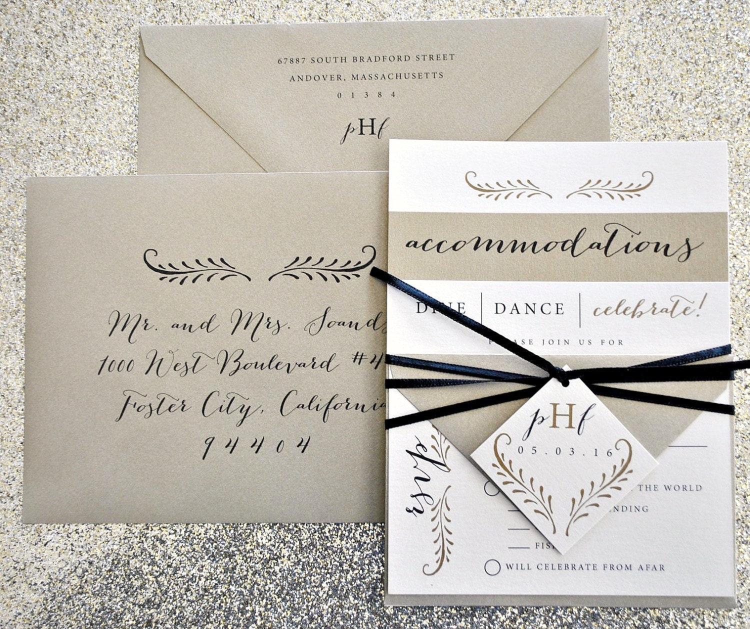 Fern Calligraphy Wedding Invitation Suite With Ribbon By