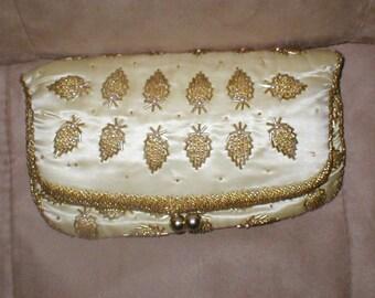 Vintage Cream Satin Gold Beaded Clutch Purse