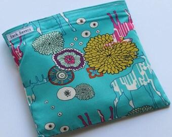 Reusable Sandwich And Or Snack Bag Moose Flowers Eco Friendly Reusable Bag