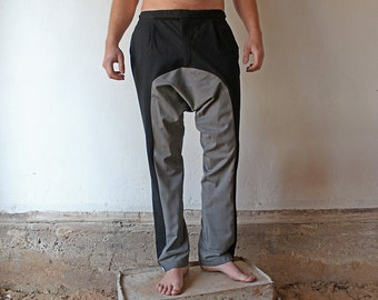 Black-grey unisex harempants, casual drop-crotch trousers, upcycled