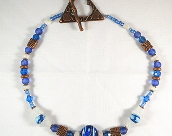Blue White Moonstone and Copper Necklace with Lampwork Focal
