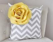 Mellow Yellow Corner Rose on Gray and White Zigzag Pillow 14 X 14 -Chevron Flower Pillow- Zig Zag Pillows