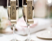 Sample of Champagne Flute Escort Cards - as seen on 100 Layer Cake