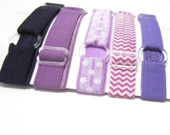 Set of 5 Purples, Adjustable Elastic Headband, Hair Band, Baby Headband, Sport Headband, Athletic Headband, Toddler Headband, Infant