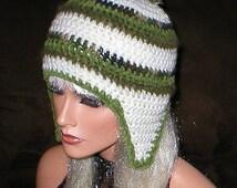50% OFF SALE SALE Crochet Women Teens Soft White Camouflage Moss Mohair Olive Suede Pom Pom Ear Flap Hat Snowboard Hat