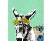 Donkey – Blank Greeting Gift Card - Collage