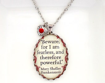 Frankenstein Necklace Frankenstein Quote Necklace Literary Jewellery Mary Shelley Quote Necklace Gothic Necklace Book Lover Gift