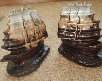 Sailing Ship Bookends,  Boat Book Ends, Maritime Bookends, Ceramic Bookends