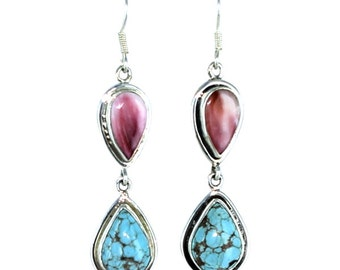 Turquoise #8 Mine And Lavender Spiny Oyster Teardrop Earrings