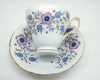 Avon Collectible Vintage Tea Cup Set,Fine Bone China, 1974 Blue Blossoms Avon Tea Cup Set,Shower Wedding Mother Grandmother Gift