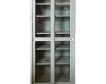 Steel Medical Dental Lab Cabinet, Sliding Doors and Shelves, Vintage Industrial