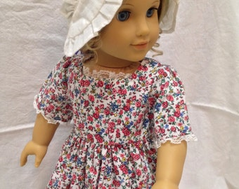 Floral Colonial-Inspired Dress and Cap for an 18-inch Doll