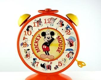 Mickey Mouse Talking Clock Disney Toy Hasbro Romper Room 1970s