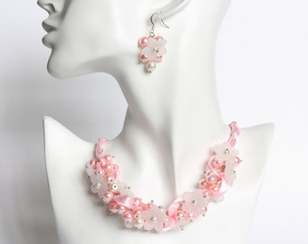 Baby Pink White Flower Cluster Necklace and Earrings Set