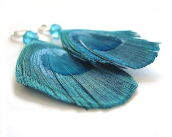 Sterling Silver Feather Jewelry - Dark Teal Earrings - Morocco Bohemian Jewelry - Turquoise Feather Earrings  - Boho Earring Tribal