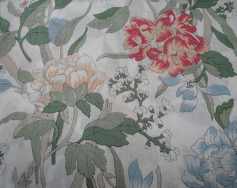 "1.5 Yards of 44"" Wide Vintage Cotton Flower Pattern Print Fabric / Ivory Peach Coral Blue Green / Quilting Fabric Sewing Home Decor S132"
