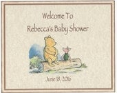 Winnie The Pooh Piglet Baby Shower Welcome Sign, Boy Or Girl Personalized Baby Shower Decoration Sign, 8X10 Vintage Style Gender Neutral