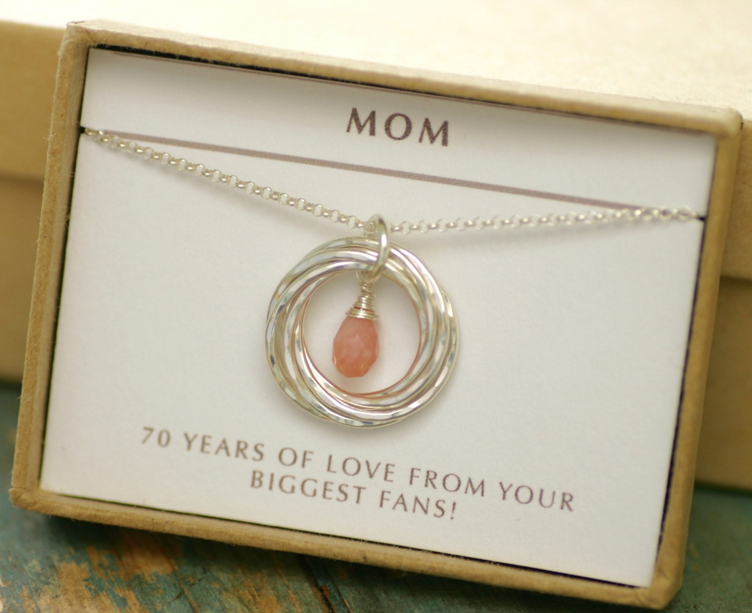70th Birthday Gift Idea Pink Opal Necklace For Grandma Gift