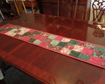 """Vintage Fabrics Patchwork Quilted Table Runner 59"""" x 11"""""""